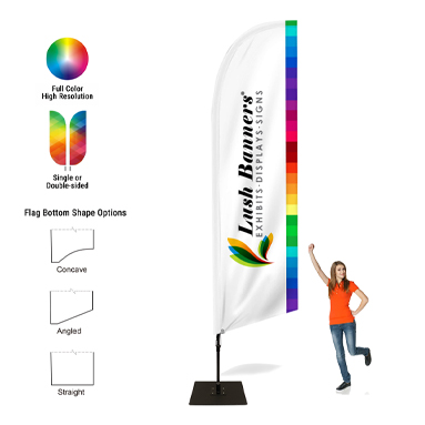 8ft Feather Banner Hair Salon - Style 2 Single-Sided, Poles and Cross Base Included